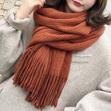 Fashion Ladies Monochrome Imitation Cashmere Warm Thick Scarf Autumn And Winter Small Fresh Students Wild
