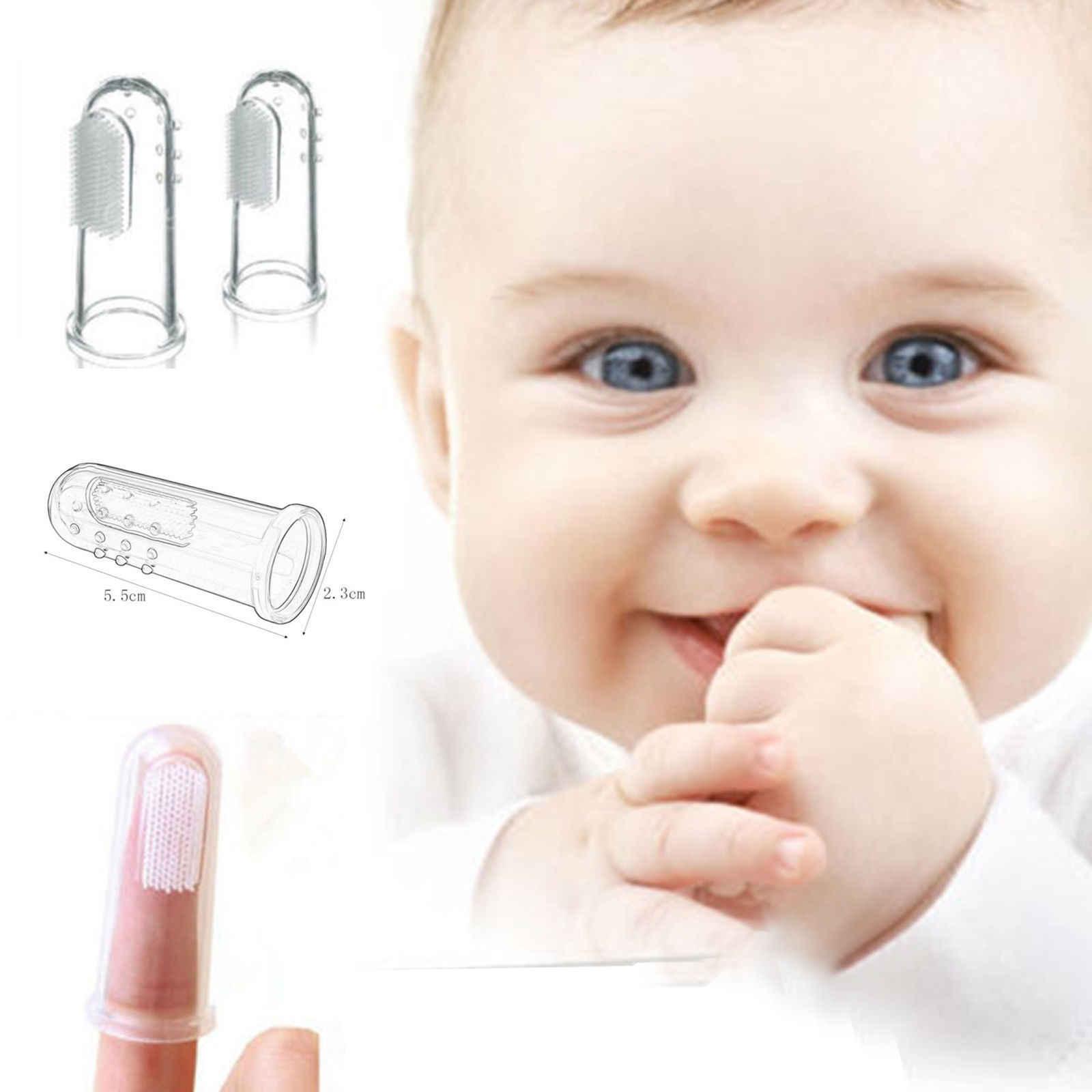 1 Pcs przydatne zdrowe dzieci dziecko niemowlę miękkie silikonu Finger szczoteczka do zębów zęby gumy masażu szczotka z pudełkiem