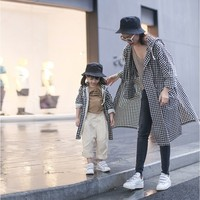 Family Look Fashion Plaid Mommy And Me Long Trench Coat Hooded Windbreaker Jackets For Girl Mother And Daughter Matching Outfits