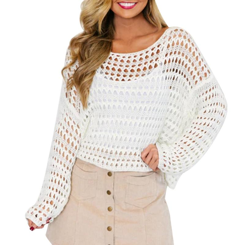 Women T-shirt Sexy Fashion Beach Clothing Perspective Hollow Mesh Fishnet T-Shirt Long Sleeve Tops Camiseta Feminina