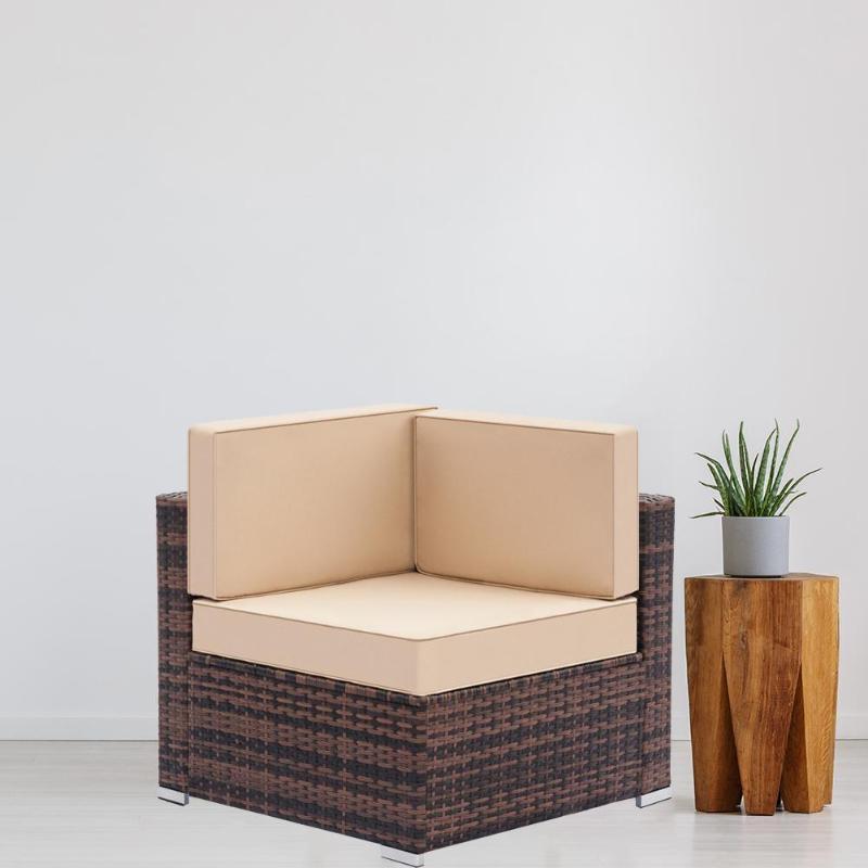 Vintage Fully Equipped Weaving Rattan Living Room Left Corner Sofa Set