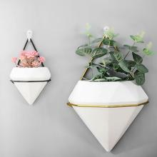 Ceramics Flower Pot Iron Plant Holders Set Indoor Wall Hanging Planter Geometric Vase Decor Container Succulents Plant Pots