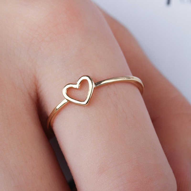 Oro ahueca hacia fuera hermosa plata boda parejas corazón 1 pieza anillo novia Size6 7 8 9 10 accesorio para bufandas regalo de San Valentín