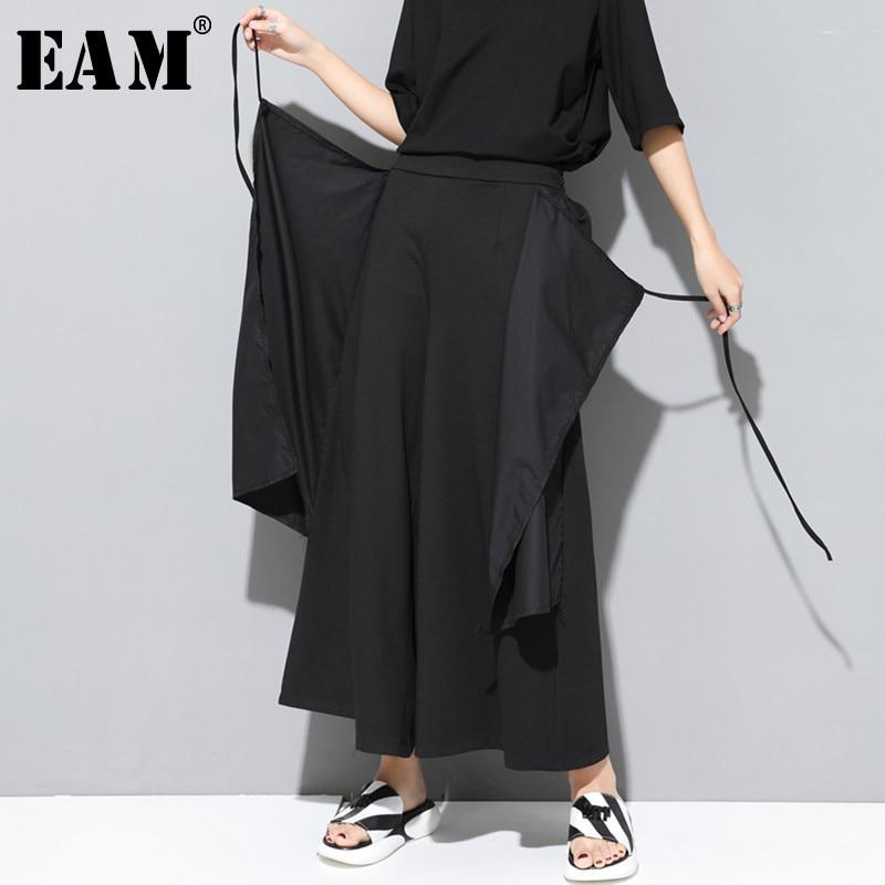 [EAM] 2019 New Spring Summer High Elastic Waist Loose Black False Two Bandage Split   Wide     Leg     Pants   Women Trousers Fashion JT231