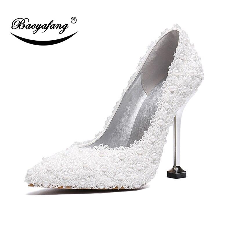 BaoYaFang 11cm High heels pointed Toe Fashion Shoes Woman Wedding shoes Bride Thin Heel Pumps Single shoe Metal heel