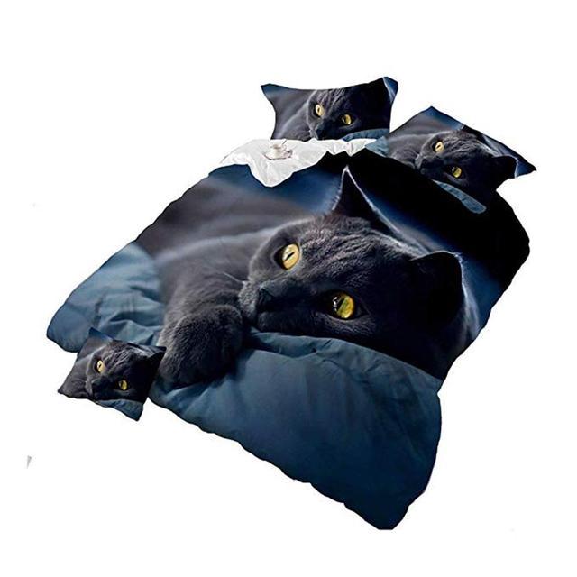 3D кошка печати постельное белье Стёганое одеяло крышка наволочка для подушки Постельное белье Декор зима удобные постельные комплекты 2 шт./3 шт