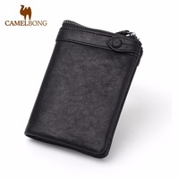 2017 Camelbong Brand New Hot Genuine Leather Short Men Zipper Wallets With Coin Pocket Male Folding Purse Free Shipping