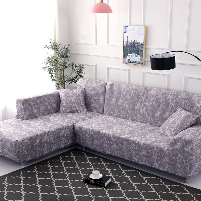 Dying Sofa Covers: Purple Tie Dye Elasticity L Shaped Sofa Cover For Living