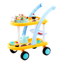 Children Trolley Cart Toy Birthday Party Cake Pusher Car Pretend Play Set for Boys Girls - Yellow Blue/Pink Blue(China)