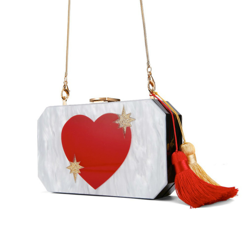 Acrylic Bags Day Clutch Crossbody Envening Small Women Love Flap Tassel-Decoration Heart