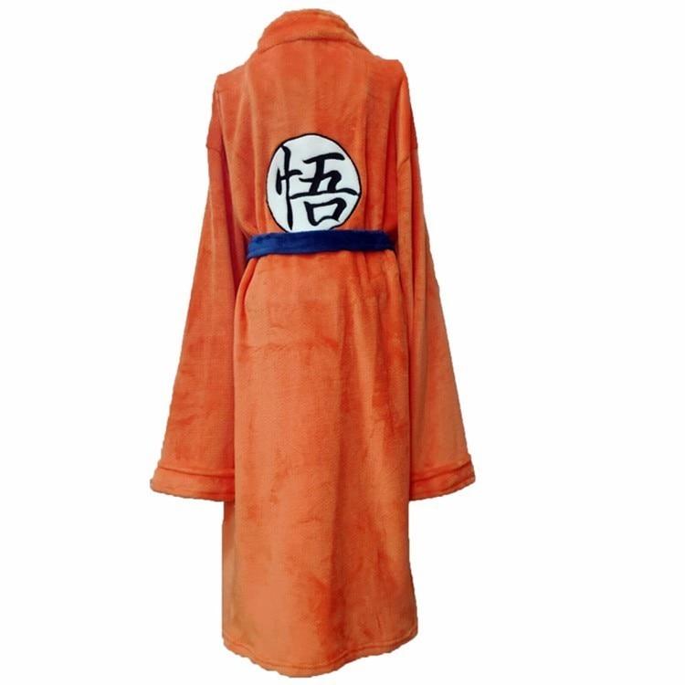 Anime Dragon Ball Flannel Bathrobe Son Goku Cosplay Costume Autumn Winter Solid Plush Thick Warm Long