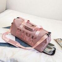 Portable Sports Yoga Fitness Bag Waterproof Nylon Female One Shoulder Travel Bag Shoes Bag Gym Bags Women Pink Grey Black