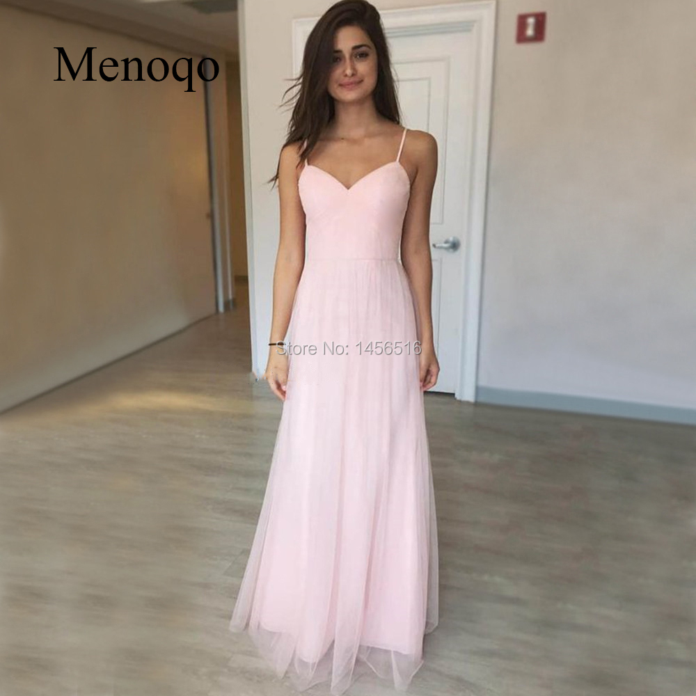 2019 Cheap Light Pink Tulle   Prom     Dress   Sweetheart Spaghetti Strap A Line Floor Length Long   Prom   Gown Simple Women Party   Dress