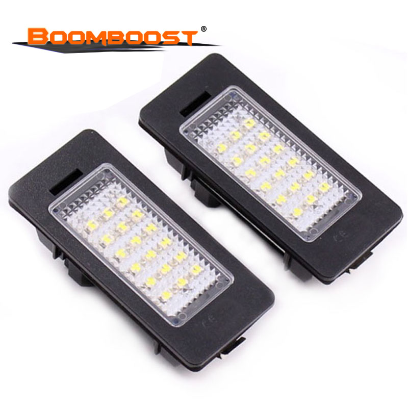 2Pcs Number plate Light LED Car Lights LED License plate lamp For BMW E39 M5 <font><b>E5</b></font> E90 E90 E92 E93 E70 E71 X5 X6 M3 18SMD <font><b>12V</b></font> image