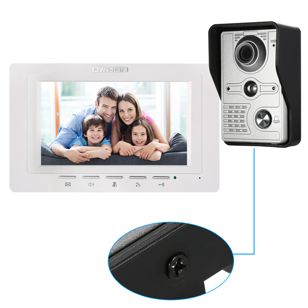 OWSOO 7 inch Wired Doorbell intercom with Rainproof Camera and Remote Unlock 1