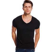 06267458 Deep V Neck T Shirt for Men Low Cut Stretch Vee Top Tees Slim Fit Short  Sleeve Fashion Male Tshirt Invisible Undershirt