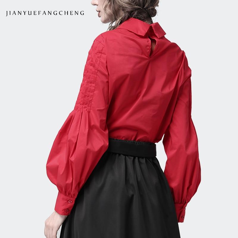 Camicette L'inverno Plus Di Donne Lunghe Nera E Solido 2018 red Modo A In Signore Size Delle Per Magliette Camicetta Black Cotone Maniche Abbigliamento SEqaz