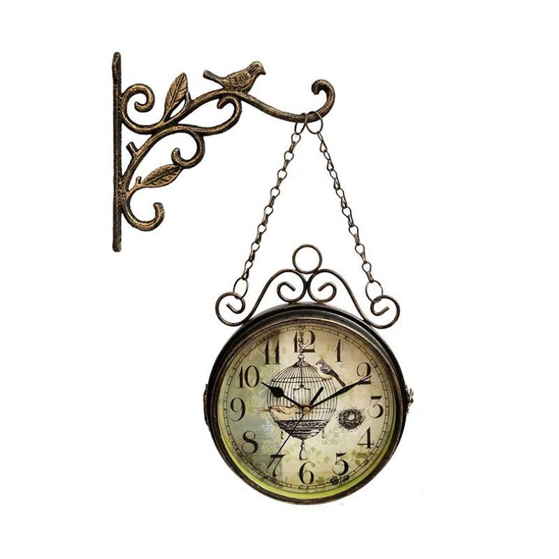 Horloge murale innovante-rétro Double face Simple silencieux Quartz horloge en fer forgé horloge ronde pour la décoration de salon