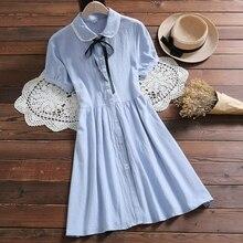 Элегантный Дизайн Kawaii летнее платье Для женщин кукла воротник сплошной Цвет с длинным рукавом Платья из хлопка синий, розовый