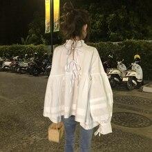 77 две одежды фри сладкий бандаж лук одежды легко показать тонкий и небольшой стенд свинец белая рубашка женщина h190425