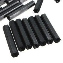 Suleve черный M3NH12, 50 шт в наборе, M3 нейлон гексагональный внутреннюю резьбу печатной платы противостояние 20/25/30/35/40 мм