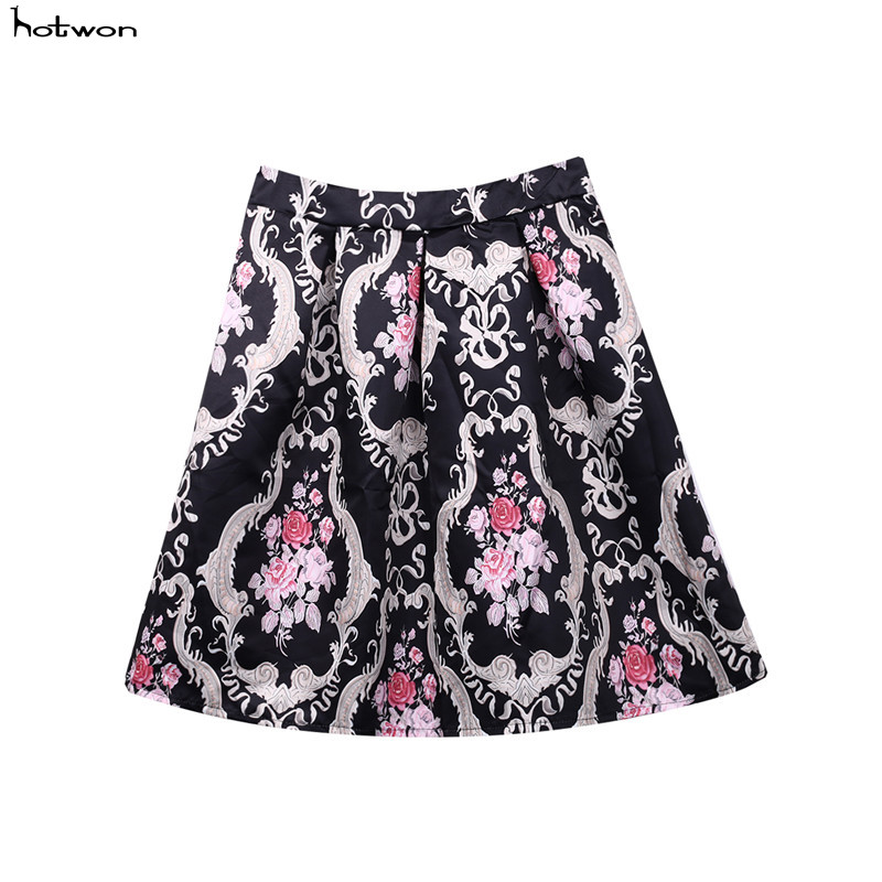 Arrival Retro Vintage Women Sexy A Line Flared Skater Flared Skirt High Waist Christmas Party