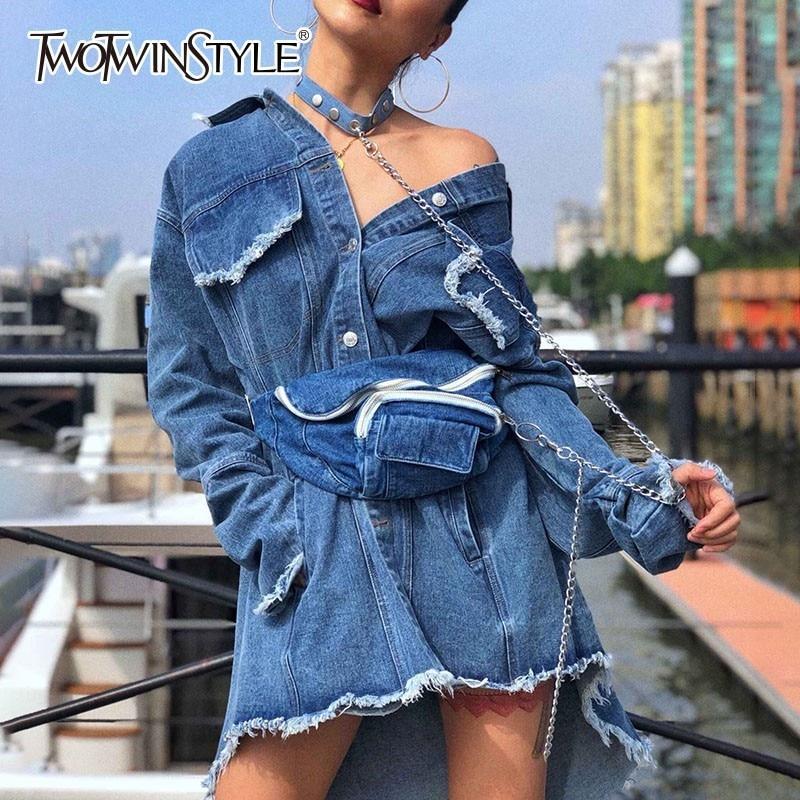Deuxtwinstyle Denim vestes pour femmes revers à manches longues asymétrique gland veste femme avec sac de taille 2019 printemps mode marée