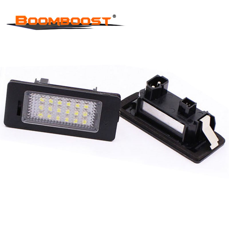 2Pcs 18SMD LED License plate lamp <font><b>12V</b></font> LED Car Lights For BMW E39 M5 <font><b>E5</b></font> E90 E90 E92 E93 E70 E71 X5 X6 M3 Number plate Light image
