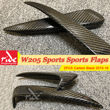 W205 Sports Rear spoiler Flaps Air Flow Vent Carbon Fiber For Benz W205 2Pcs Bumper Splitter Wing Spoiler C180 C200 C250 2015-19 цены онлайн
