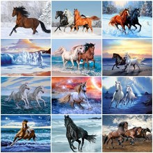 Huacan Horse Diamond Embroidery Full Display Mosaic Sale Animals Cross Stitch Painting Rhinestones Pictures