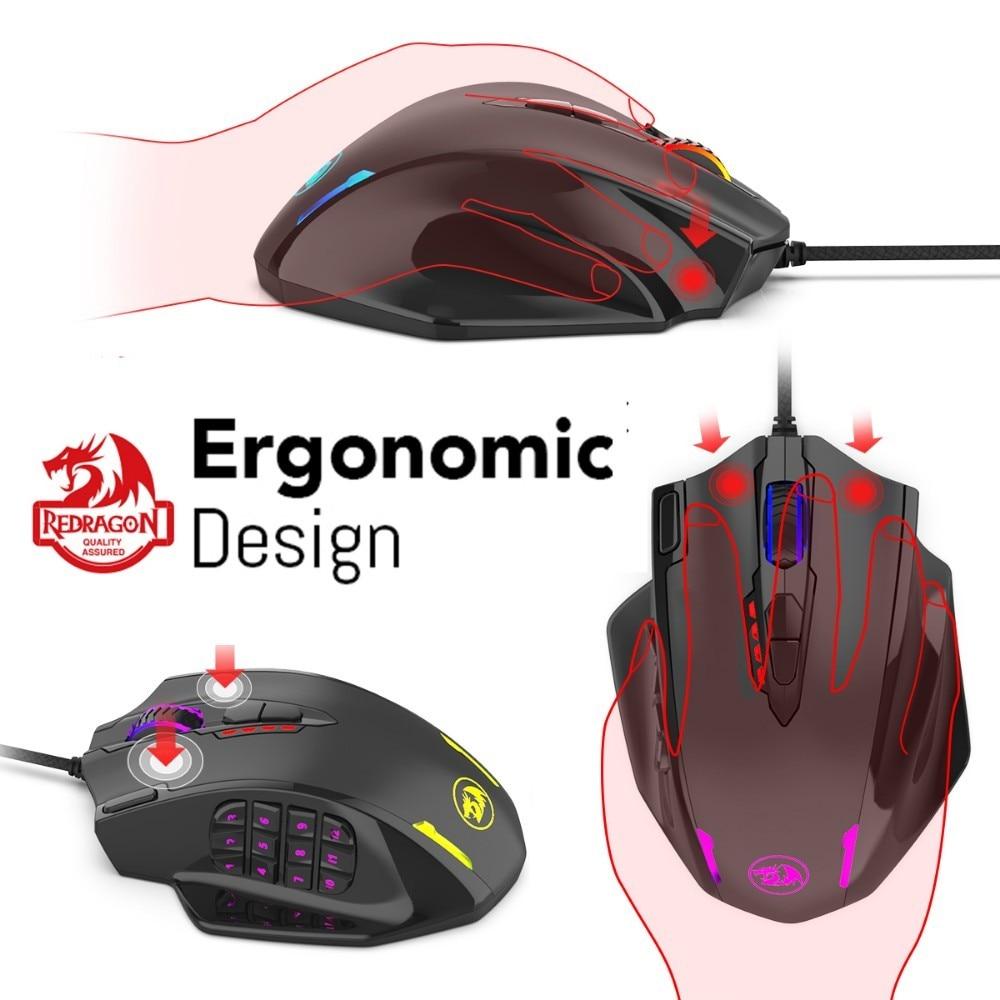 Image 5 - Redragon M908 12400 точек/дюйм ударная игровая мышь 19  программируемых кнопок RGB LED Лазерная проводная мышь MMO высокоточная  мышь PC Gamer-in Мыши from Компьютеры и офисная техника on AliExpress