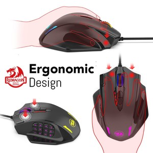 Image 5 - Redragon M908 12400 DPI IMPACT Gaming Mouse 19 Programmable Buttons RGB LED Laser Wired MMO Mouse High Precision Mouse PC Gamer