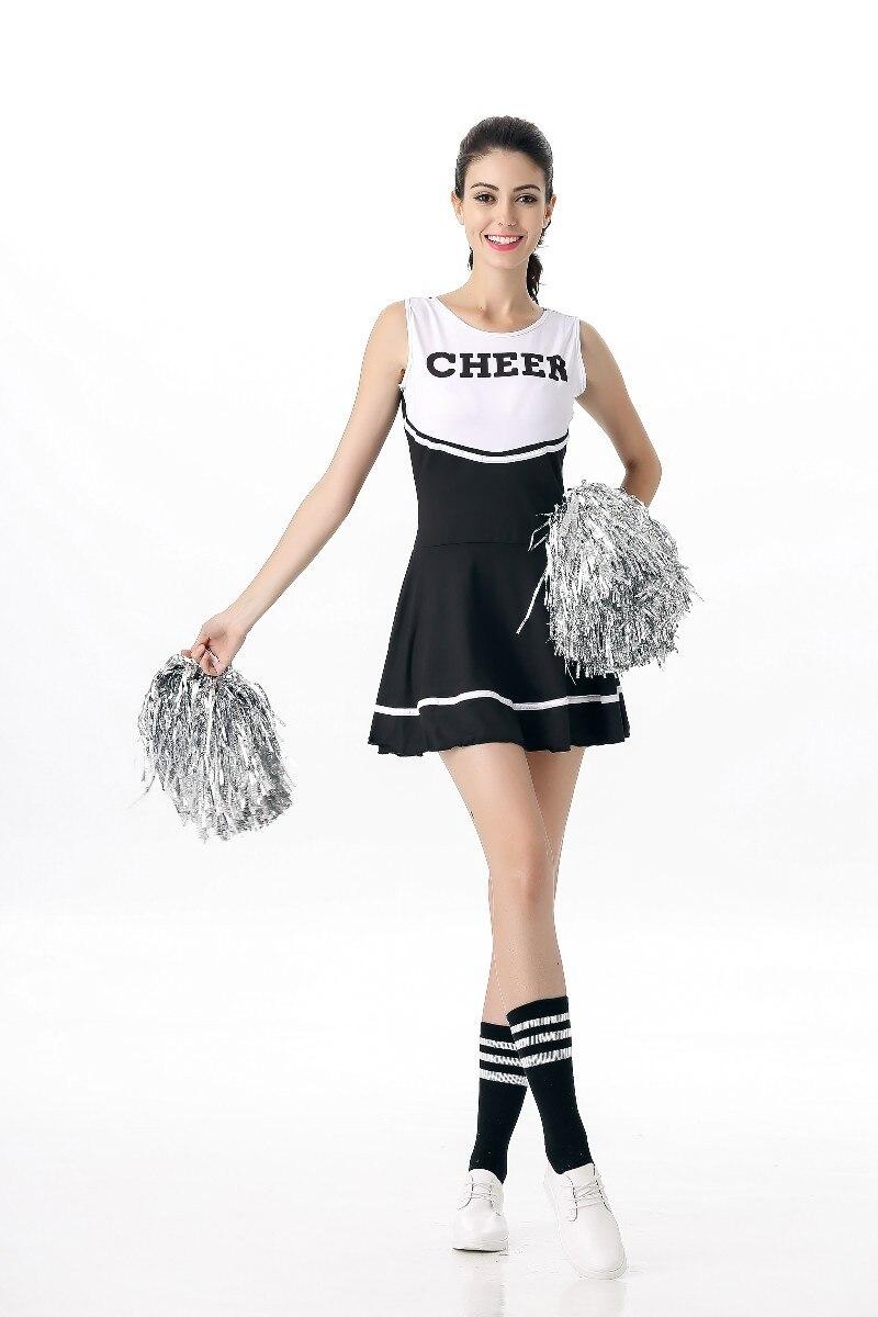 With 2 Pcs Pom Poms High School Girls Cheerleading Costume Sleeveless Cheerleader Uniform Sportwear Lady Halloween Fancy Costume