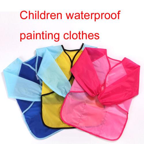Kids School Art Overall Play Aprons Waterproof Cute Painting Long Sleeve Smock