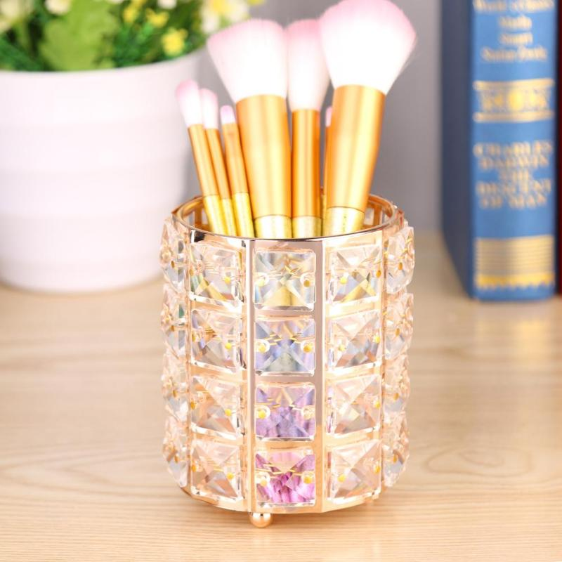 1PC Crystal Makeup Brushes Pen Holder Organizer Gold Silver Diamond Cosmetic Brush Bag Makeup Pens Organizer Storage Box