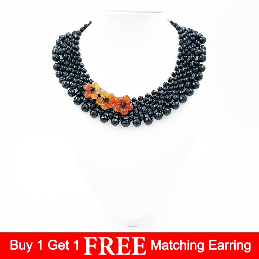 Natural Stone Black Agates Onyx facted beads&Red Agates carving flowers Fashion Necklace 18inches special new fashion natural stone maxi necklace black onyx big necklaces