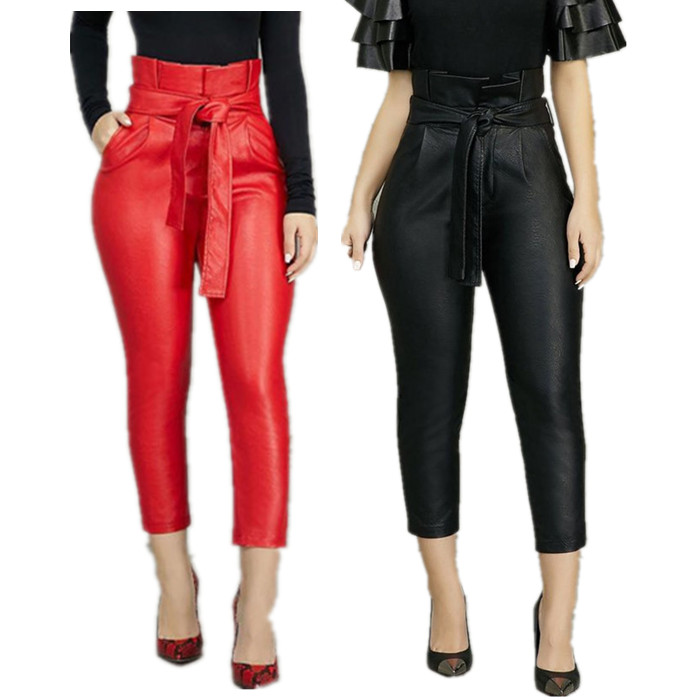 High Waist Ruffles Belted PU Leather Pants Women Fashion Trousers Faux Leather Cargo Pants Women Plus Size Skinny Pencil Pants