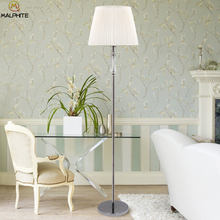 Nordic Crystal Standing Lamp Modern Fabric Lampshad Living Roome Floor Lamp American Bedroom Bedside Decor Stand Light Floor