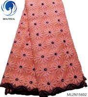 BEAUTIFICAL african lace fabric 2019 high quality lace latest african laces french design flowers with beads 5yards/lot ML2N156