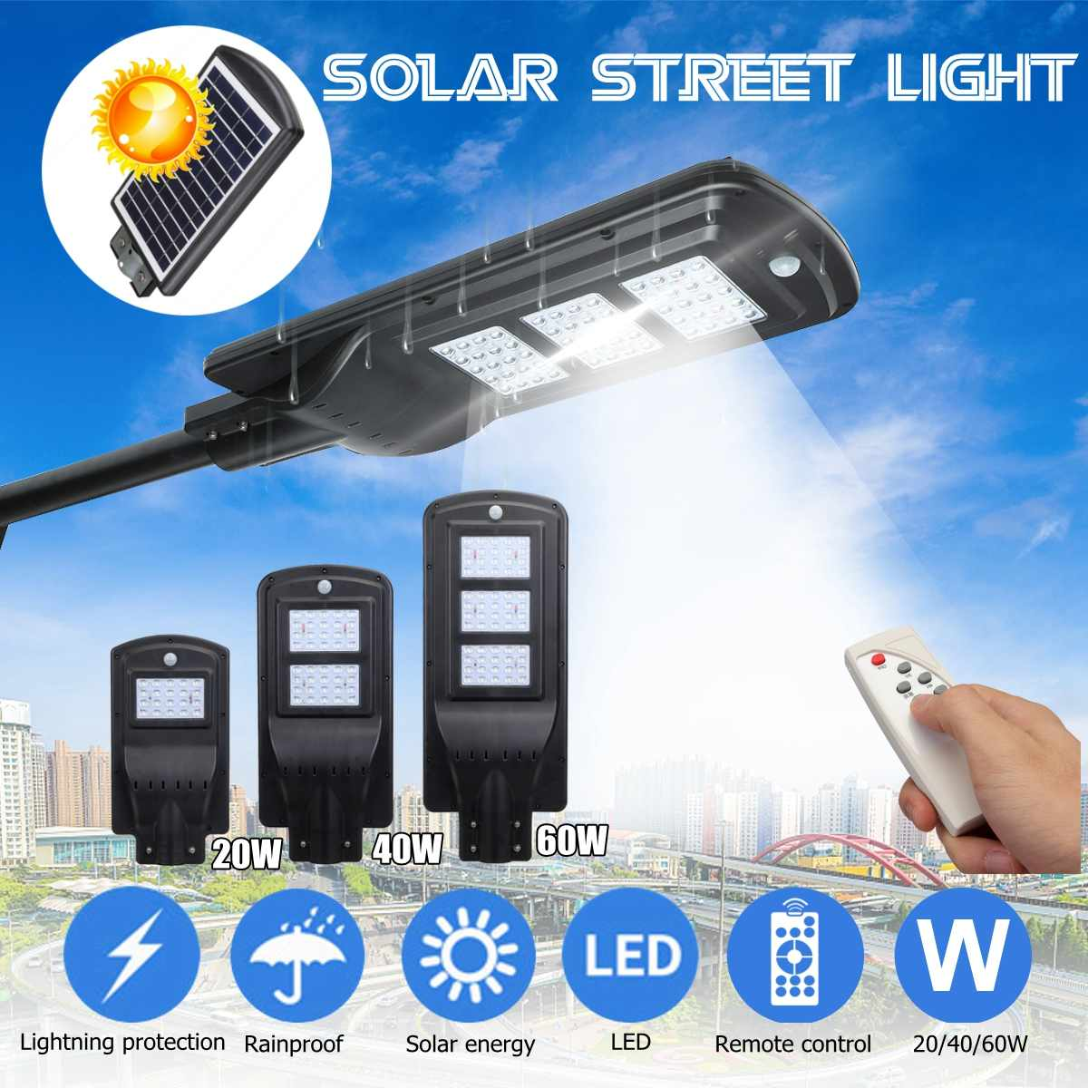 20/40/60W Solar Powered LED Wall Street Light Outdoor Solar Lamp With Remote Control Residential House outdoor light ning