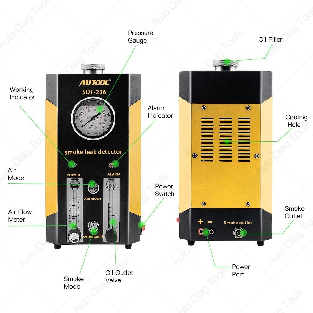 Automotive Rook Machines Detector AUTOOL SDT-206 Auto Lek Locator van Pijp Systemen voor Motorfiets Smog Lekkage Diagnostic Tester