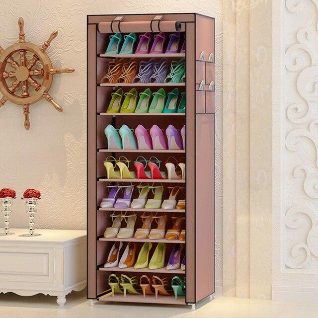 9 Grid Metal Oxford Shoe Cabinet Dust Proof Organizer Rack Multifunction Home Cupboard Minimalist Modern Furniture Entrance Hall