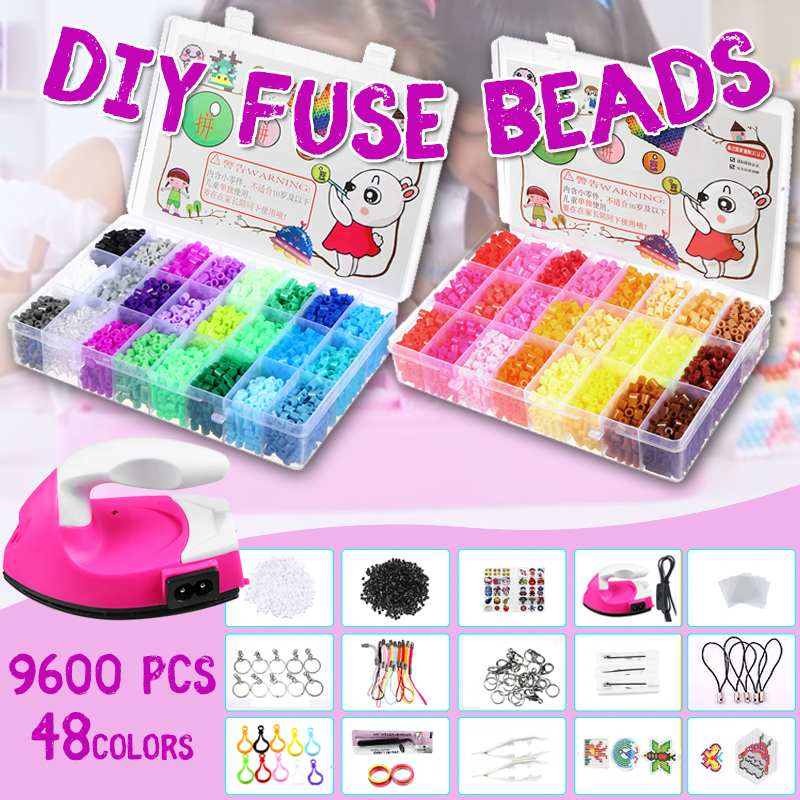 With Iron 9600pcs/bag 5mm Fuse Beads Puzzles Hama Beads 48 Colors Craft Peg Board Activity Educational Gift Kid Toy DIYWith Iron 9600pcs/bag 5mm Fuse Beads Puzzles Hama Beads 48 Colors Craft Peg Board Activity Educational Gift Kid Toy DIY