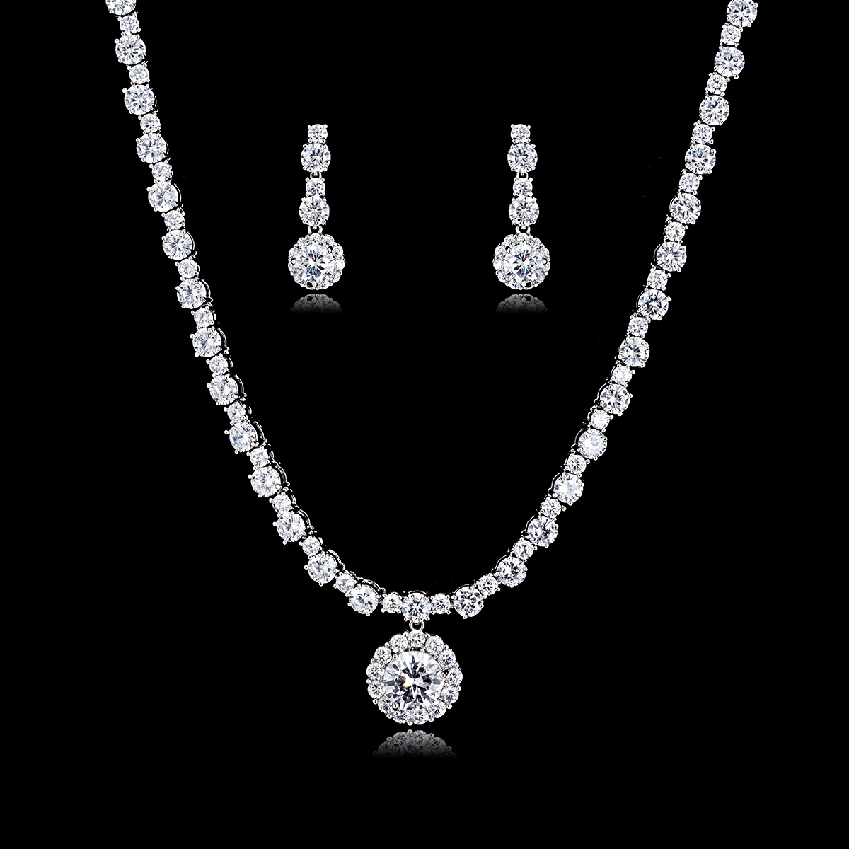 Crystal CZ Cubic Zircon Bridal Wedding Flower Necklace Earring Set Jewelry Sets for Women Prom Party Jewelry Accessories CN10168Crystal CZ Cubic Zircon Bridal Wedding Flower Necklace Earring Set Jewelry Sets for Women Prom Party Jewelry Accessories CN10168