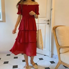 Elegant Women Dress One-shoulder Maxi Long Dresses Sexy Party Chiffon Cake Female Summer