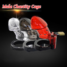 купить Male Chastity Device Cage Cock Ring BDSM Bondage Fetish Locking Gay Penis Sleeve Chastity Device Belt Sex Toys For Men по цене 624.61 рублей