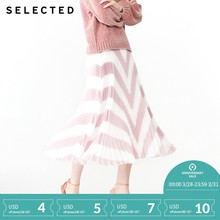 d71ce9db8 SELECTED spring new women's trend color matching striped pleated skirt  S|41914C511
