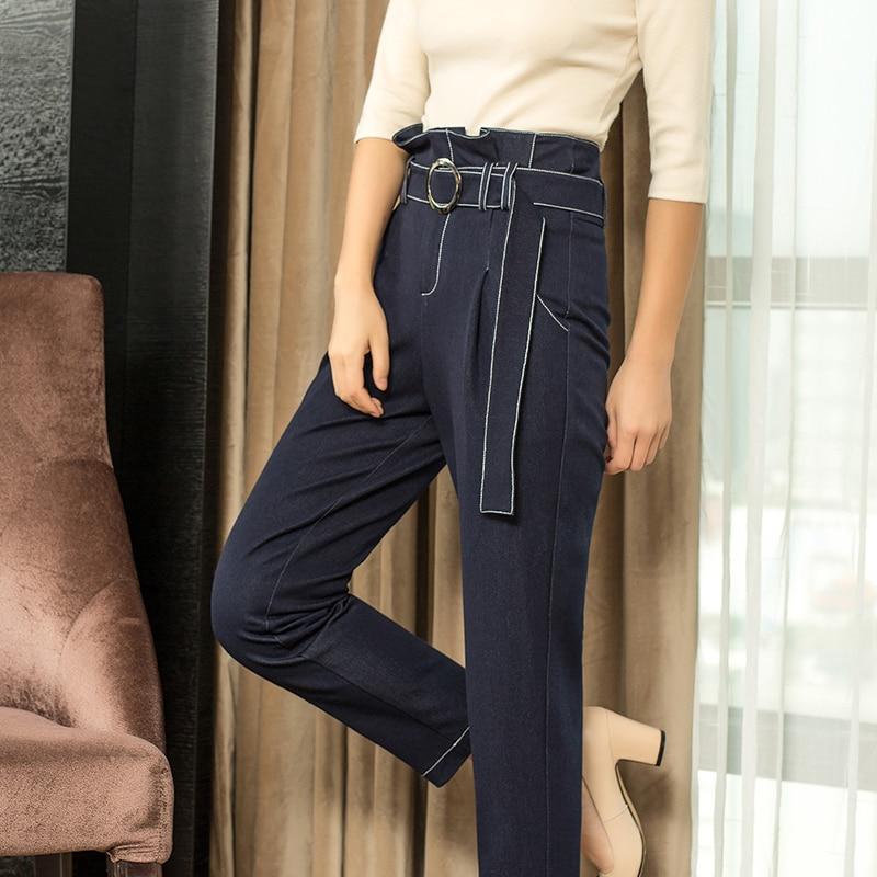 Longueur Détail Au Bleu Pantalon De Costume Causalité Cheville Haute Gros 2018 3xl En Denim Femmes Et Taille Harem wSxUqtCH4