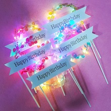 Flower LED Cupcakes Happy Birthday Cake Topper Party Cake Decoration Tool