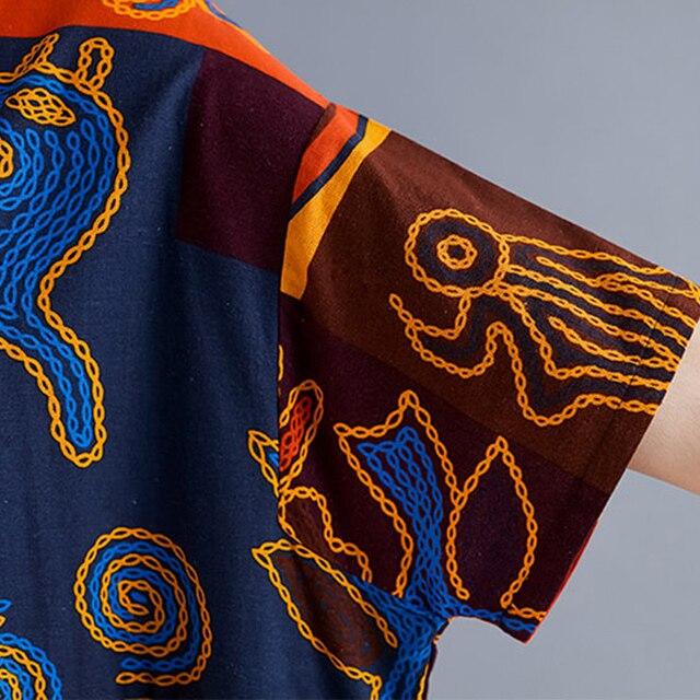 Plus Size Ethnic Vintage Print Dress Women Summer Long Cotton Linen Plaid Dress Casual Loose Ladies Dresses 4XL 5XL 6XL 2020 New 6